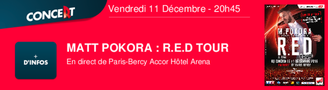 MATT POKORA : R.E.D TOUR En direct de Paris-Bercy Accor Htel Arena Vendredi 11 Décembre - 20h45