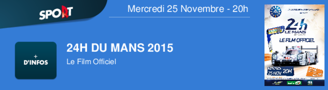 24H DU MANS 2015 Le Film Officiel Mercredi 25 Novembre - 20h