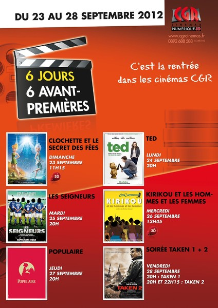 LA RENTREE DU CINEMA - 6 jours, 6 avant-premi�res