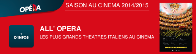 ALL' OPERA LES PLUS GRAND THEATRES ITALIENS AU CINEMA SAISON AU CINEMA 2014/2015