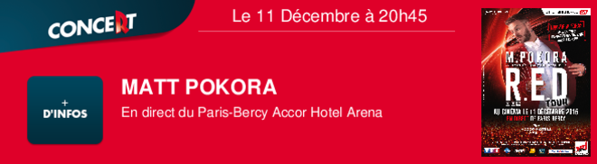 MATT POKORA En direct du Paris-Bercy Accor Hotel Arena Le 11 Décembre à 20h45